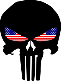 Punisher With American Flag Eyes Decal / Sticker 130