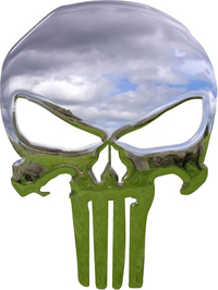 Simulated 3D Chrome Punisher Decal / Sticker 145