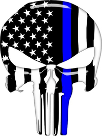 Thin Blue Line American Flag Punisher Decal / Sticker 150 Simulated Glass