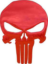 Simulated 3D Red Chrome Punisher Decal / Sticker 164