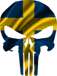 Swedish Flag Punisher Decal / Sticker 172