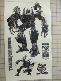 Transformers Barricade Peel and Stick Decals / Stickers