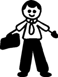 Tie Guy with Briefcase Stick Figure Decal / Sticker
