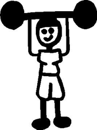 Weight Lifter Stick Figure Decal / Sticker 01