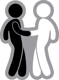 Black Man and White Man Shaking Hands Decal / Sticker 04