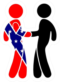 z Confederate Flag and Black Man Shaking Hands Decal / Sticker 08