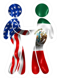 American Flag and Mexican Flag Shaking Hands Decal / Sticker 09