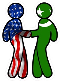 American Flag and Muslim Flag Shaking Hands Decal / Sticker 10