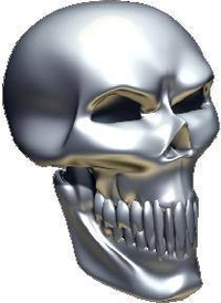 3D Chrome Skull 03 Decal / Sticker