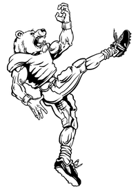Football Kicker Bear Mascot Decal / Sticker