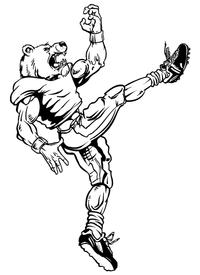 Football Kicker Bear Mascot Decal / Sticker