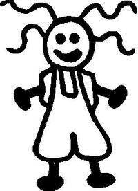 Girl 17 Stick Figure Decal / Sticker
