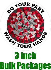 BULK 3 Inch Do Your Part Wash Your Hands Coronavirus (COV-19) Decal / Sticker 06
