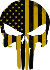 Weathered Yellow American Flag Punisher Decal / Sticker 169