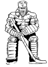 Hockey Frontiersman Mascot Decal / Sticker 2