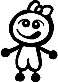 Little Girl Stick Figure Decal / Sticker 01