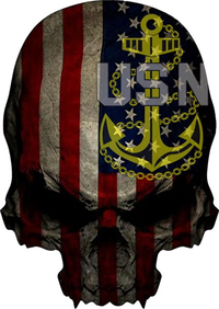 American Flag Navy Chief Anchor Skull Decal / Sticker 04