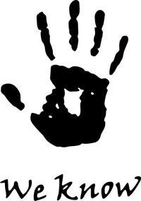 Skyrim We Know Hand Print Decal / Sticker 01