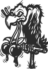 Vulture with Balls in Mouth Decal / Sticker