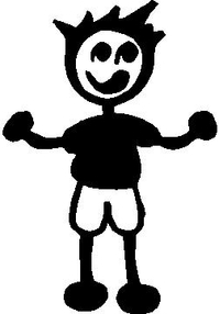 Shorts Boy Stick Figure Decal / Sticker 08