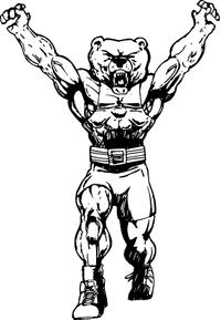 Weightlifting Bear Mascot Decal / Sticker