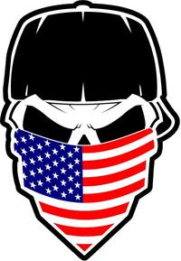 Skull American Flag Bandana Decal / Sticker 37