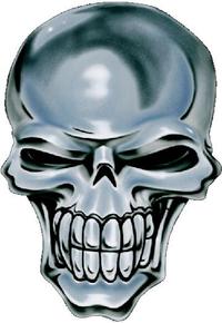 Chrome Skull Decal / Sticker 06