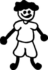 Shorts Boy Stick Figure Decal / Sticker 03
