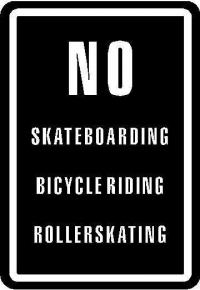 CUSTOM NO SKATEBOARDING DECALS and NO SKATEBOARDING STICKERS