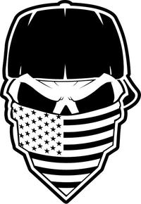 Skull American Flag Bandana Decal / Sticker 36
