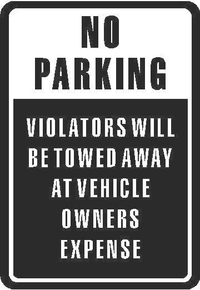 No Parking Violators will be Towed Sign Decal / Sticker