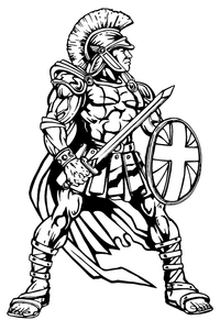 Trojans Mascot with Shield Decal / Sticker