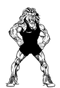 Wrestling Lions Mascot Decal / Sticker 3