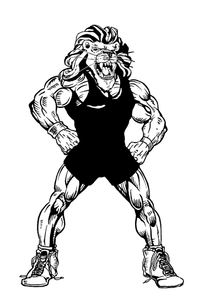Wrestling Lions Mascot Decal / Sticker 3