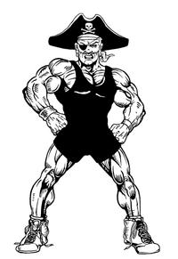 Wrestling Pirates Mascot Decal / Sticker 2