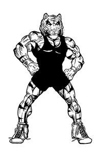 Wrestling Tigers Mascot Decal / Sticker 3