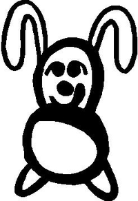 Bunny Rabbit Stick Figure Decal / Sticker 03