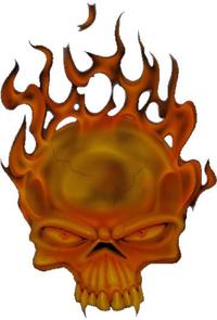 Flaming Skull Decal / Sticker 08