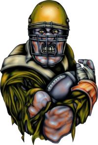 Yellow Gold Football Player Decal / Sticker 03