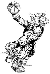 Basketball Bull Mascot Decal / Sticker 4
