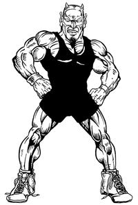 Wrestling Devils Mascot Decal / Sticker 4