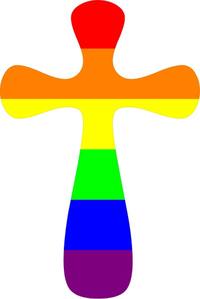 Rainbow LGBT Flag Cross Decal / Sticker 22