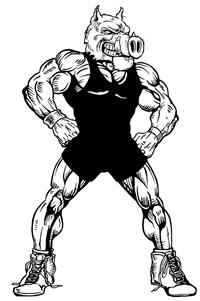 Wrestling Razorbacks Mascots Decal / Sticker 2