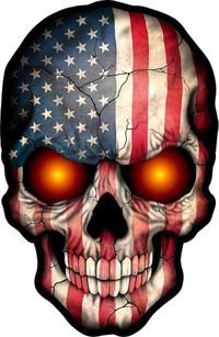 American Flag Skull Decal / Sticker With Glowing Eyes 07