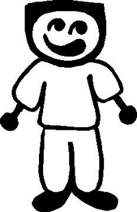 Flat Top Guy Stick Figure Decal / Sticker
