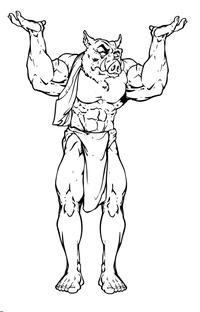 Razorbacks Weightlifting Mascot Decal / Sticker