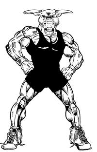Wrestling Bull Mascot Decal / Sticker 4