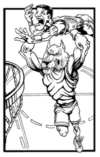Basketball Wolves Mascot Decal / Sticker 1