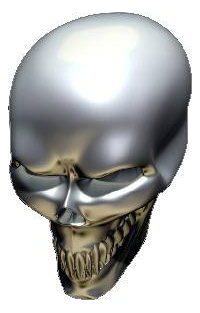 3D Chrome Skull 01 Decal / Sticker