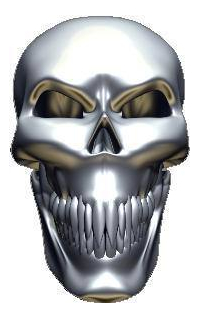 3D Chrome Skull 04 Decal / Sticker
